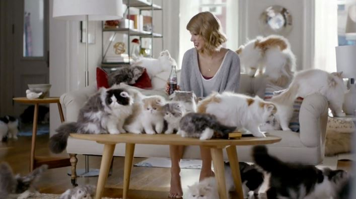 taylor swift cat and coca cola ad